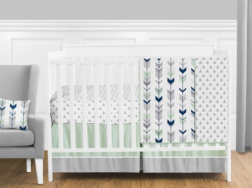 Grey Navy Blue And Mint Woodland Arrow Baby Bedding 4pc