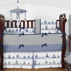 Grey, Periwinkle, Navy Blue and White Aztec Mountain - 9 Piece Girls or Boys Gender Neutral Crib Baby Bedding Set