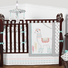 Grey, Turquoise Blue and White Llama Boy Girl Baby Bedding - 9pc Crib Set by Sweet Jojo Designs