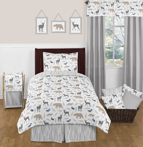 Woodland Animals 4pc Twin Boy Bedding Set by Sweet Jojo Designs - Click to enlarge