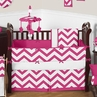 Hot Pink and White Chevron ZigZag Baby Bedding - 9pc Crib Set by Sweet Jojo Designs