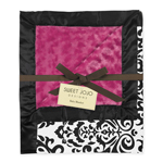 Hot Pink, Black and White Isabella Damask, Minky Swirl and Satin Baby Blanket by Sweet Jojo Designs