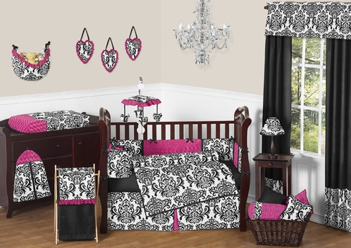 Hot Pink, Black and White Isabella Girls Baby Bedding - 9 pc Crib Set - Click to enlarge