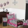Hot Pink, Black and White Isabella Girls Toddler Bedding by Sweet Jojo Designs - 5pc Set