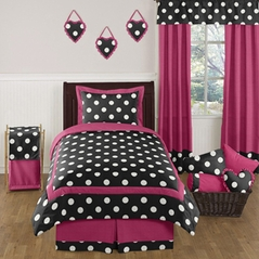Hot Pink, Black and White Polka Dot Childrens and Teen Bedding Set by Sweet Jojo Designs - 4 pc Twin Set