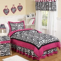 Hot Pink, Black & White Funky Zebra Childrens Bedding - 4 pc Twin Set