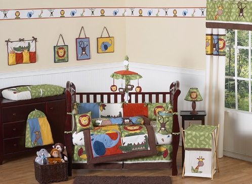 Jungle Time Baby Bedding - 9 pc Crib Set - Click to enlarge