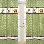 Jungle Time Green Leaf Print Window Treatment Panels - Set of 2