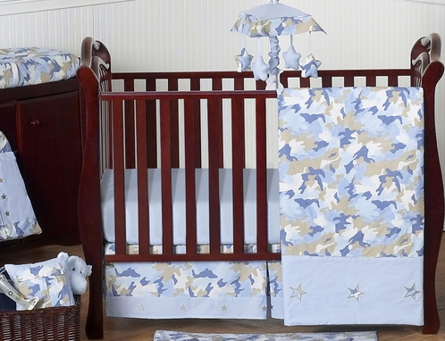 Khaki And Blue Camo Baby Bedding 11pc Crib Set By Sweet