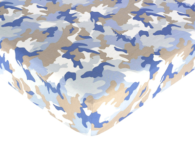 Khaki and blue camo fitted crib sheet for baby and toddler bedding