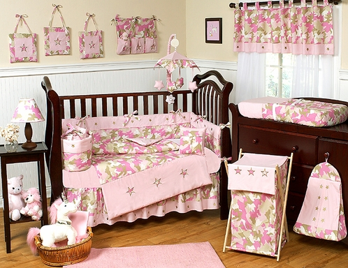 Khaki and Pink Camo Baby Bedding - 9pc Crib Set - Click to enlarge