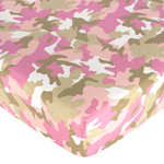 Khaki and Pink Camo Fitted Crib Sheet for Baby and Toddler Bedding Sets by Sweet Jojo Designs - Camo Print