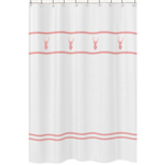Kids Bathroom Fabric Bath Shower Curtain for Coral, Mint and Grey Woodsy Deer by Sweet Jojo Designs