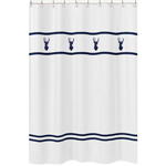 Kids Bathroom Fabric Bath Shower Curtain for Navy, Mint and Grey Woodsy Deer by Sweet Jojo Designs
