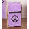 Kids Children Clothes Laundry Hamper for Purple Groovy Peace Sign Tie Dye Bedding