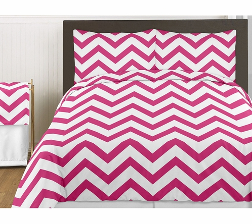 Hot Pink and White Chevron 3pc Childrens and Teen Zig Zag Full / Queen Bedding Set Collection - Click to enlarge