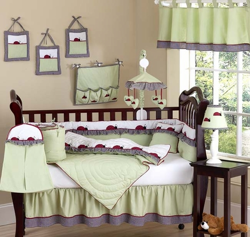 Ladybug Parade Sage Baby Bedding - 9 pc Crib Set - Click to enlarge
