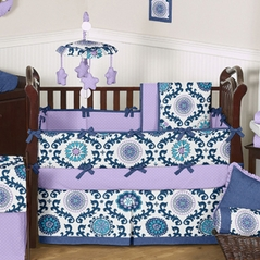 Lavender and Blue Rosa Baby Bedding - 6 pc Crib Set