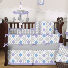 Purple, Blue and Grey Sunny Day Baby Bedding - 9 pc Crib Set by Sweet Jojo Designs
