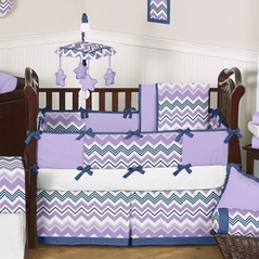 Lavender and Blue Zazzle Baby Bedding - 6 pc Crib Set