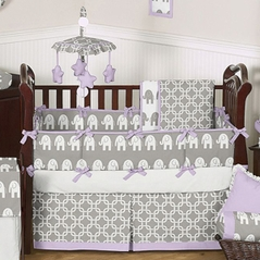 Lavender and Gray Ele Baby Bedding - 6 pc Crib Set