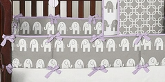 Lavender and Gray Ele Baby Crib Bumper Pad