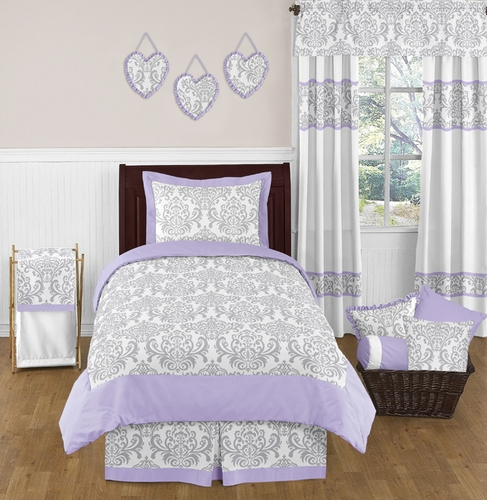 Lavender and Gray Elizabeth Childrens and Kids Bedding - 4pc Twin Set by Sweet Jojo Designs - Click to enlarge