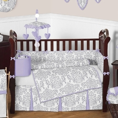Lavender and Gray Elizabeth Baby Bedding - 9pc Crib Set by Sweet Jojo Designs