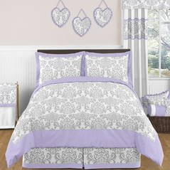 Lavender and Gray Elizabeth Childrens and Kids Bedding - 3pc Full / Queen Set by Sweet Jojo Designs
