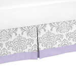 Lavender and Gray Elizabeth Queen Bed Skirt for Childrens Teen Bedding Sets by Sweet Jojo Designs