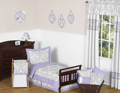 Lavender and Gray Elizabeth Toddler Bedding - 5pc Set by Sweet Jojo Designs - Click to enlarge