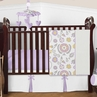 Lavender and White Suzanna Baby Bedding - 4pc Crib Set by Sweet Jojo Designs