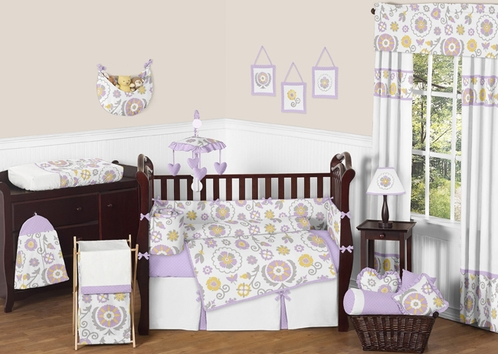 Lavender and White Suzanna Baby Bedding - 9pc Crib Set by Sweet Jojo Designs - Click to enlarge