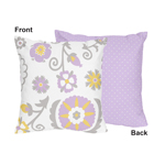 Lavender and White Suzanna Decorative Accent Throw Pillow by Sweet Jojo Designs