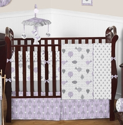Lavender & Gray Earth and Sky Baby Bedding - 9 pc Crib Set by Sweet Jojo Designs