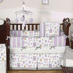 Lavender Owl Baby Bedding - 6 pc Crib Set