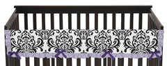 Lavender, Purple, Black and White Sloane Baby Crib Long Rail Guard Cover by Sweet Jojo Designs