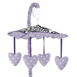 Lavender, Purple, Black and White Sloane Musical Baby Crib Mobile by Sweet Jojo Designs