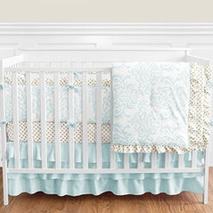 Light Blue, Gold and White Tiffany Damask Baby Bedding 9pc Girls Crib Set by Sweet Jojo Designs