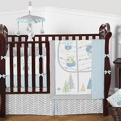 Light Blue Grey and Green Woodland Owl Friends Baby Bedding - 9pc Boys Crib Set by Sweet Jojo Designs