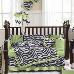 Lime Funky Zebra Baby Bedding - 9 pc Crib Set