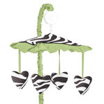 Lime Funky Zebra Musical Baby Girls Crib Mobile by Sweet Jojo Designs