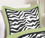 Lime Funky Zebra Pillow Sham