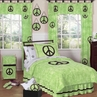 Lime Groovy Peace Sign Tie Dye Children's Bedding - 4 pc Twin Set