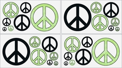 Lime Groovy Peace Sign Tie Dye Kids and Teens Wall Decal Stickers - Set of 4 Sheets