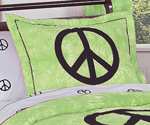 Lime Groovy Peace Sign Tie Dye Pillow Sham