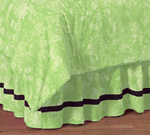 Lime Groovy Peace Sign Tie Dye Queen Kids Children's Bed Skirt by Sweet Jojo Designs
