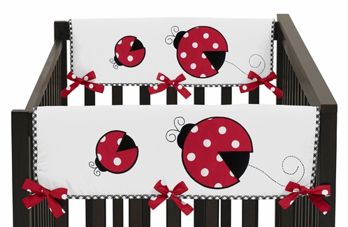 Little Ladybug Baby Crib Side Rail Guard Covers by Sweet Jojo Designs - Set of 2 - Click to enlarge