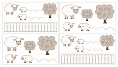 Little Lamb Baby and Kids Wall Decal Stickers by Sweet Jojo Designs - Set of 4 Sheets