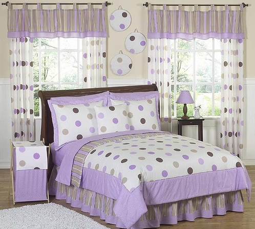 Purple and Brown Modern Dots Teen Bedding - 3 pc Full / Queen Set - Click to enlarge